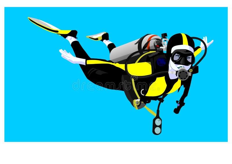 Zambullidor de equipo de submarinismo stock de ilustración