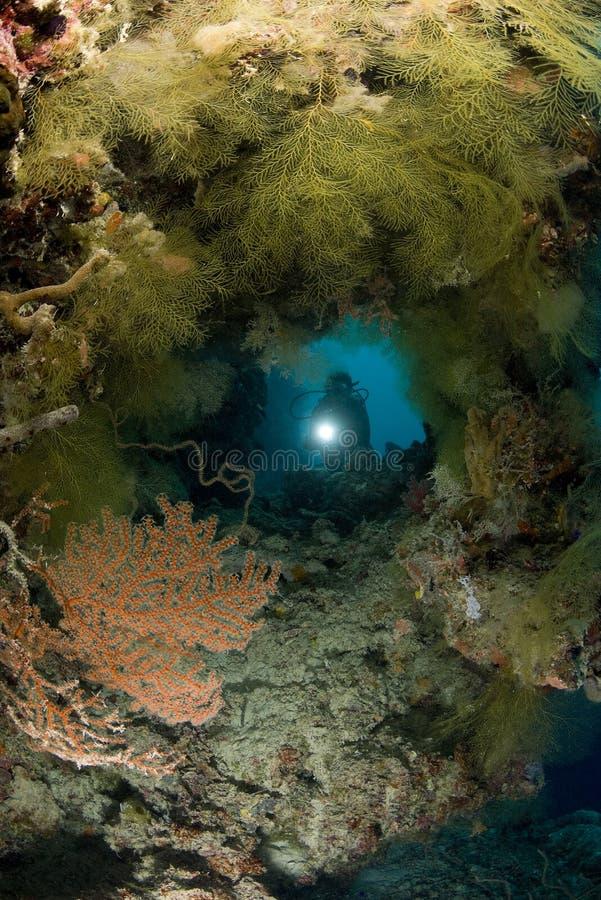 Zambullidor de EQUIPO DE SUBMARINISMO y cueva subacuática imagenes de archivo