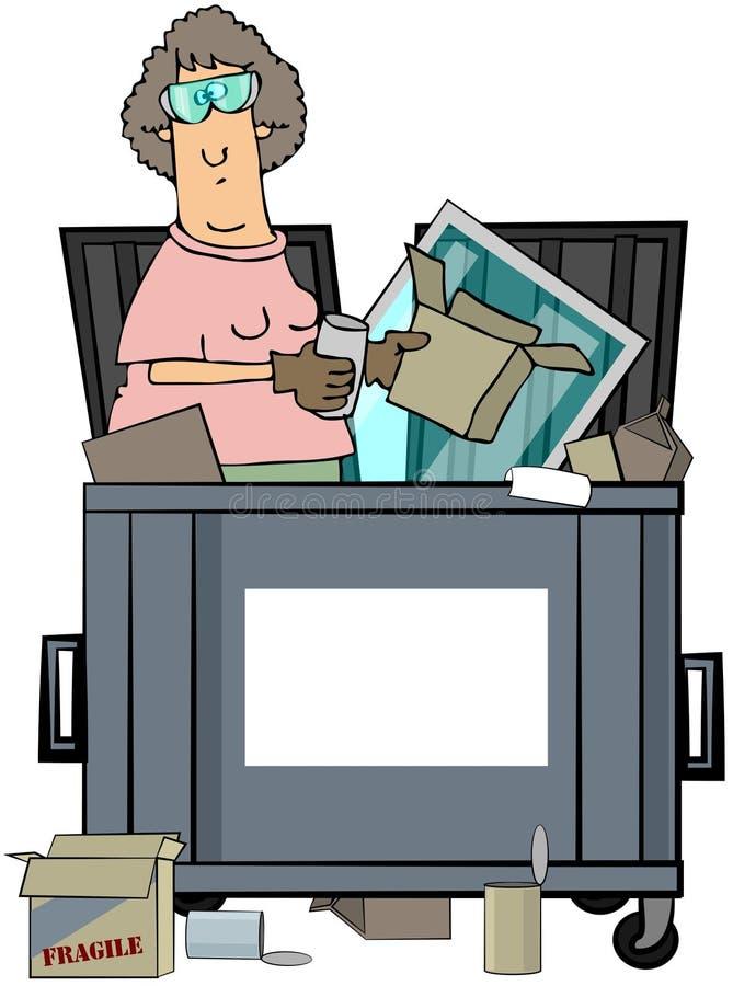 Zambullidor del contenedor de la mujer ilustración del vector