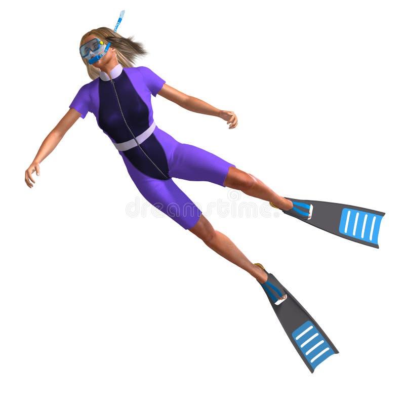 Zambullidor femenino con el tubo respirador ilustración del vector