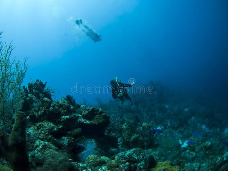 Zambullidores de equipo de submarinismo imágenes de archivo libres de regalías