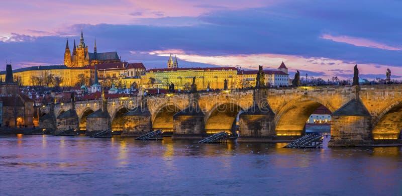 zamek Charles Prague mostu obraz stock