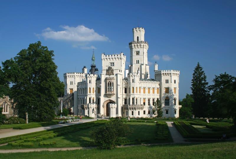 zamek czeskiego hluboka przez republikę vltavou zdjęcie stock