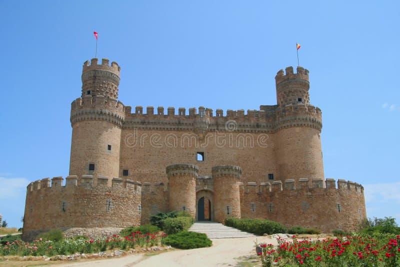 zamek el Madryt Manzanares niedaleko prawdziwego Hiszpanii obrazy royalty free