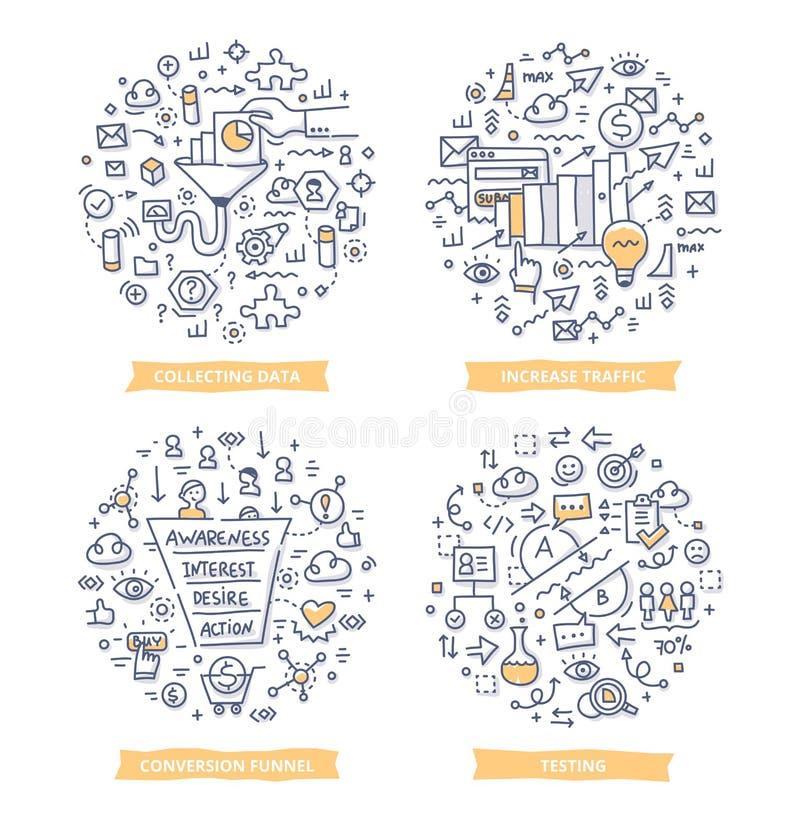 Zamiany tempa optymalizacja Doodle ilustracje ilustracji