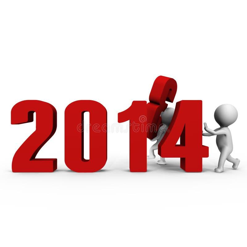 Zamieniający liczbę tworzyć nowego roku 2014 - 3d ima ilustracja wektor