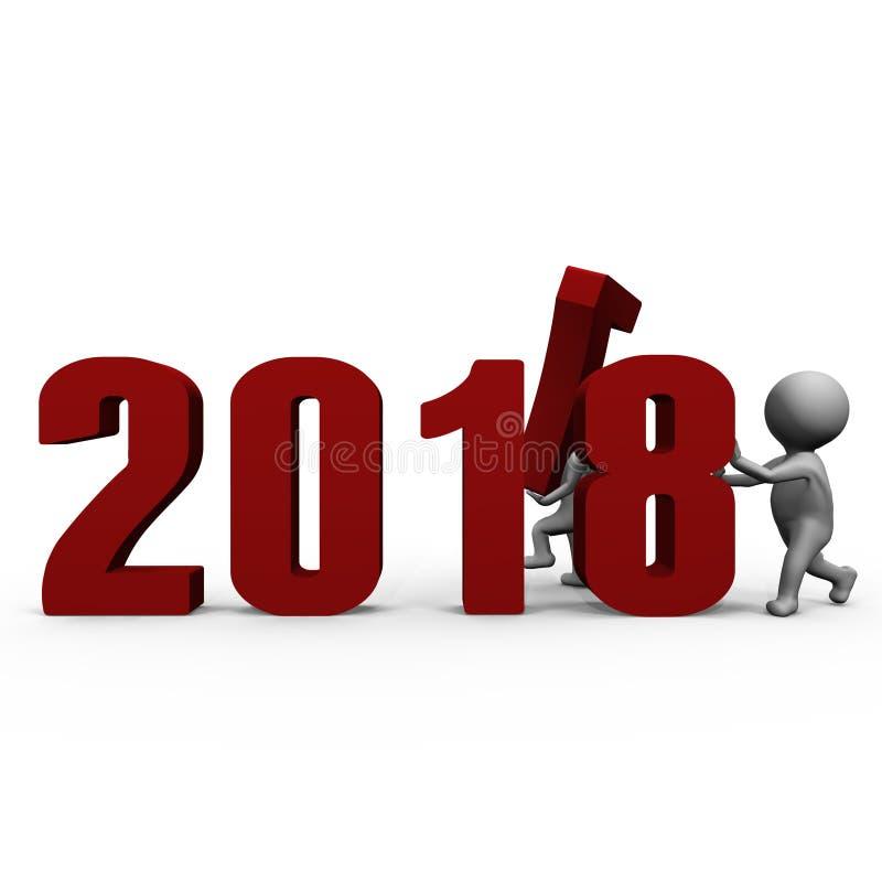 Zamieniający liczbę tworzyć nowego roku 2018 - 3d wizerunek ilustracja wektor