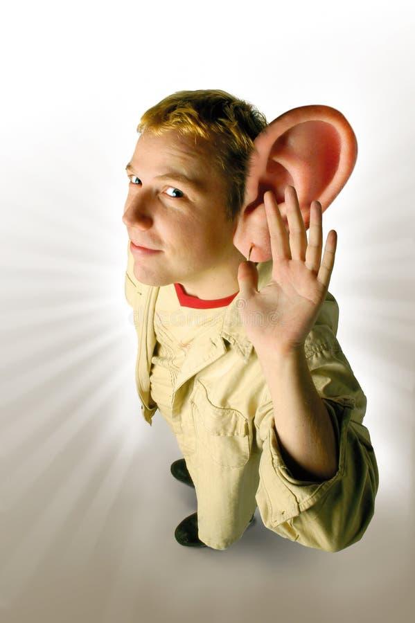 zamieniam się w słuch ma manipulowane zdjęcie stock