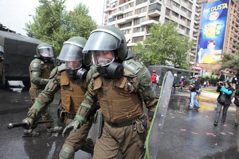 Zamieszki policja w Chile zdjęcia stock