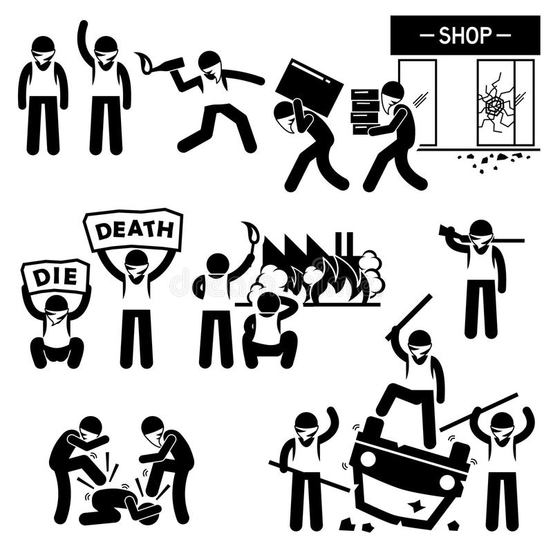 Zamieszki rewoluci protestujących Buntownicza demonstracja Cliparts ilustracji
