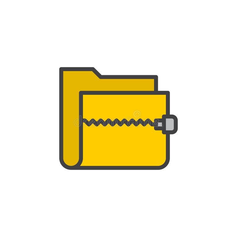 Zamka błyskawicznego archiwum falcówki linii ikona, wypełniający konturu wektoru znak, liniowy kolorowy piktogram odizolowywający royalty ilustracja
