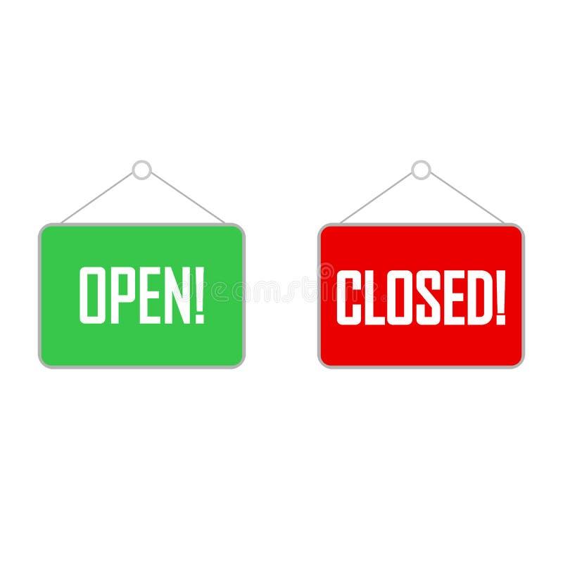 Zamknięty znak dla drzwi Mieszkanie styl Wektorowa ilustracja, otwarty znak, talerz, tekst royalty ilustracja