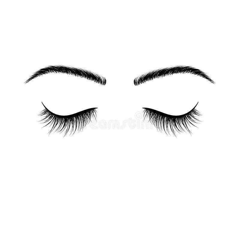 Zamkniętych oczu czarne rzęsy fałszywe rzęsy Wektorowa ilustracja odizolowywająca na biały tle royalty ilustracja