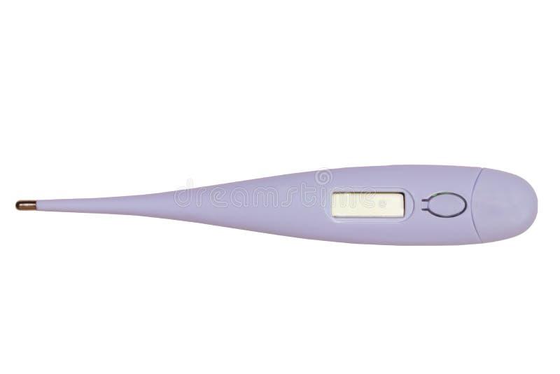 Zamknięcie cyfrowego termometru medycznego do pomiaru temperatury wyizolowanej na białym tle Alarm wysokotemperaturowy zdjęcia stock