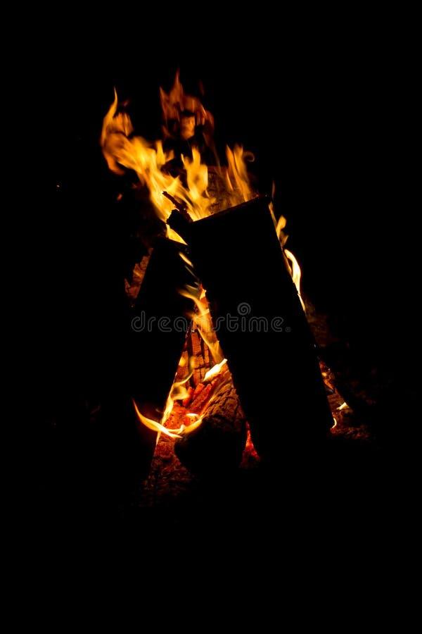 ZamkniÄ™cie ogniska pÅ'onÄ…cego w lesie, drewno opaÅ'owe i żar w ogniu przez rzekÄ™, selektywna uwaga zdjęcia royalty free