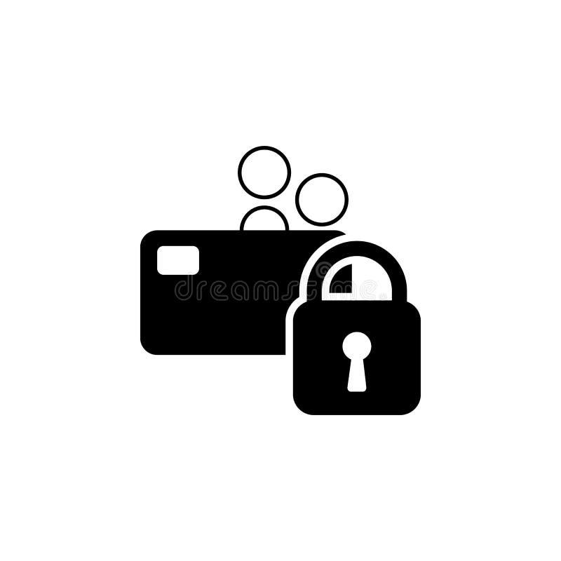 Zamknięta bank karta Kredytowa karta z kędziorek ikoną Elementy cyber ochrony ikona Premii ilości graficzny projekt Znaki, kontur ilustracja wektor