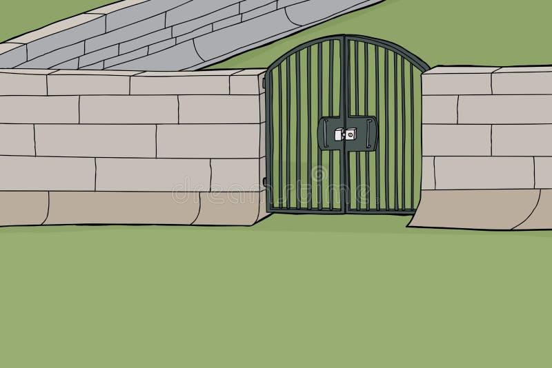 Zamknięta brama w ścianie ilustracja wektor