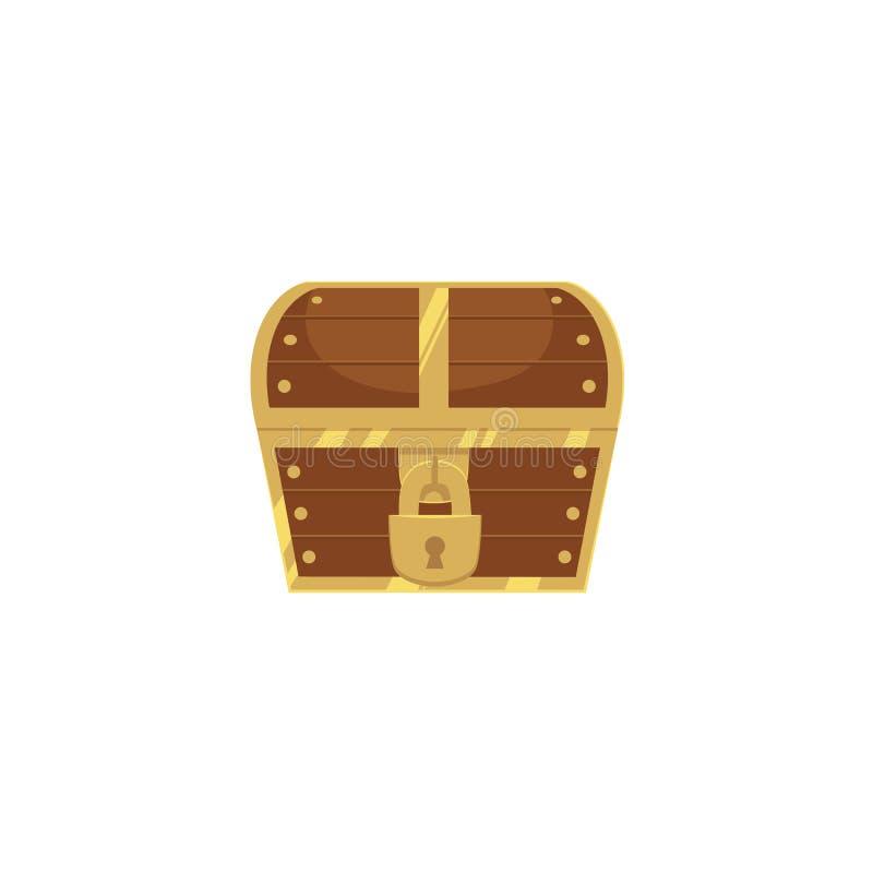Zamknięta i zamknięta drewniana pirata skarbu klatka piersiowa royalty ilustracja
