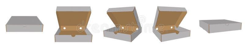 Zamknięta i otwarta pizzy pudełka 3 d ilustracja, biel, jasny, puste miejsce, odosobniony pizzy pudełka egzamin próbny w górę ilustracji