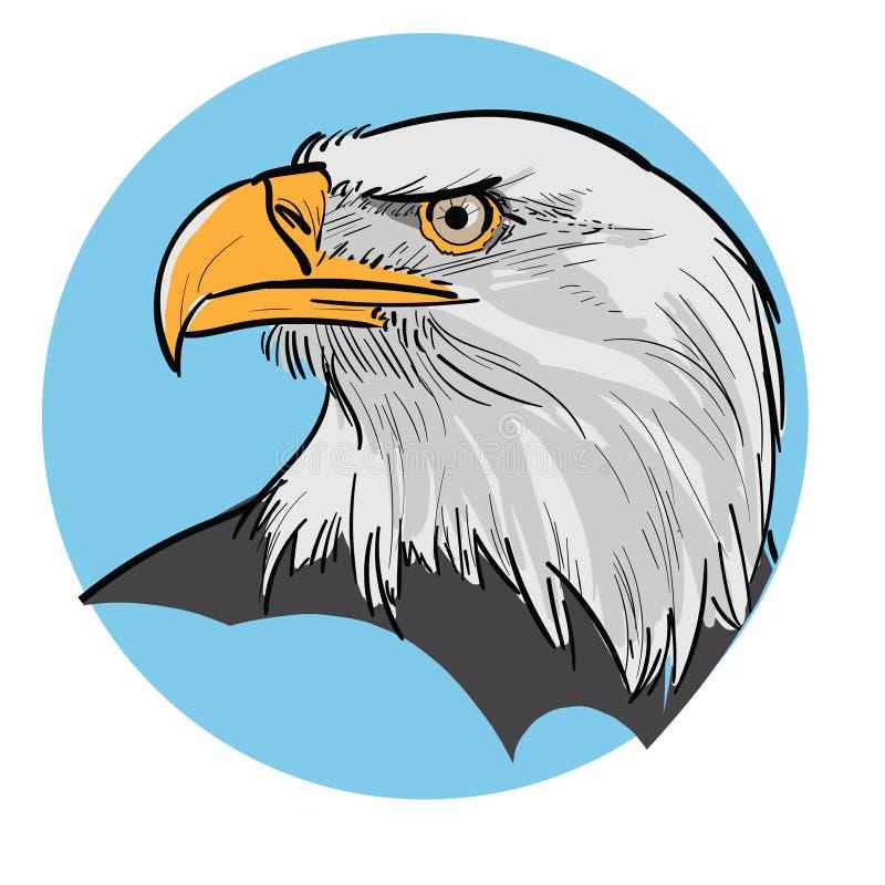 zamknięta orła głowy stojaka pozycja zamknięty Głowa dumny orzeł na błękitnym tle ilustracja wektor