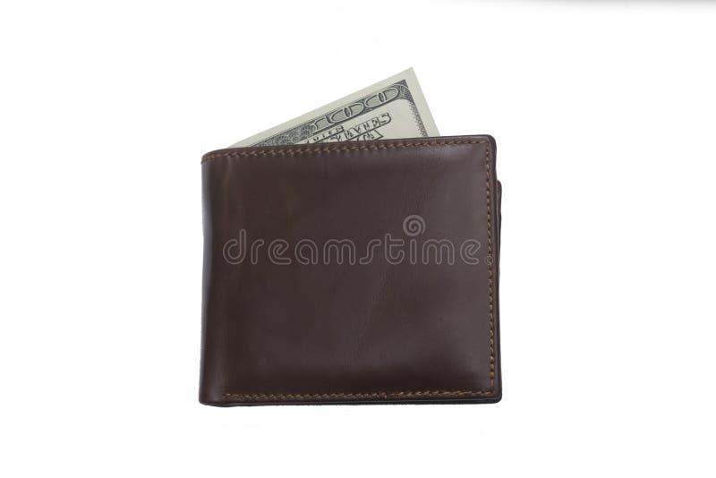 Zamkniętego brązu rzemienny portfel z gotówkowymi dolarami odizolowywającymi zdjęcia stock