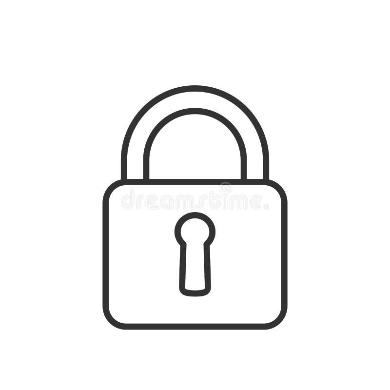 Zamkniętego kłódka konturu Płaska ikona na bielu ilustracji