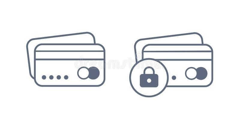 Zamknięty bank karty wektoru znak Kredytowa karta z k?dziorek ikon? ilustracja wektor