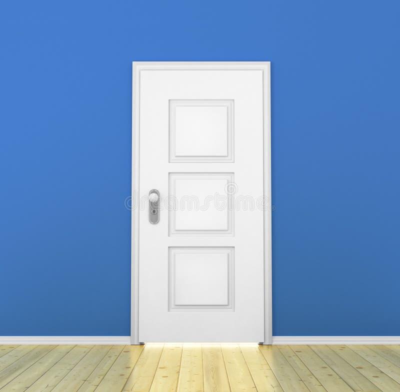 Zamknięty biały drzwi w pustym royalty ilustracja