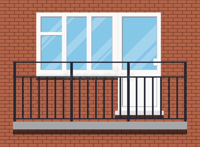 Zamknięty biały klingerytu pvc glazurujący balkon z czarnym metalu balkonu poręczem royalty ilustracja