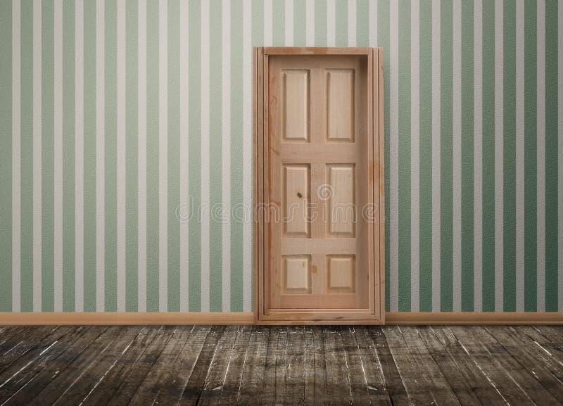 Zamknięty drzwi w pustym pokoju obraz stock