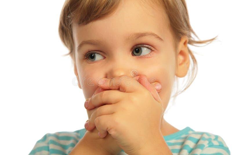 zamknięty dziewczyny ręk llittle usta zdjęcia royalty free