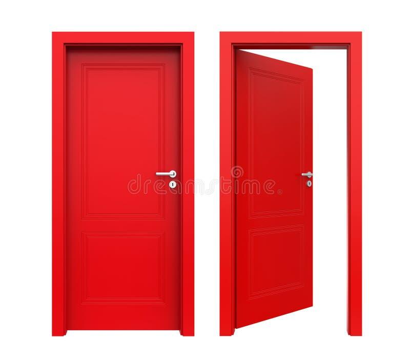 Zamknięty i otwarte drzwi Odizolowywający ilustracja wektor