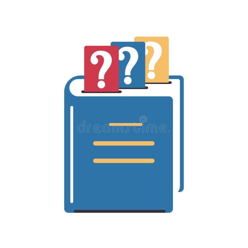 Zamknięty książki znak zapytania bookmarks Kolor ikona w mieszkanie stylu Projekt symbol faq, pomoc, uczy si? royalty ilustracja