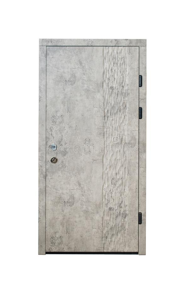 Zamknięty opancerzony drzwi odizolowywający przy białym tłem Wizerunek zamknięty drzwi Wejście mieszkanie Brown drewna forniru dz obraz stock