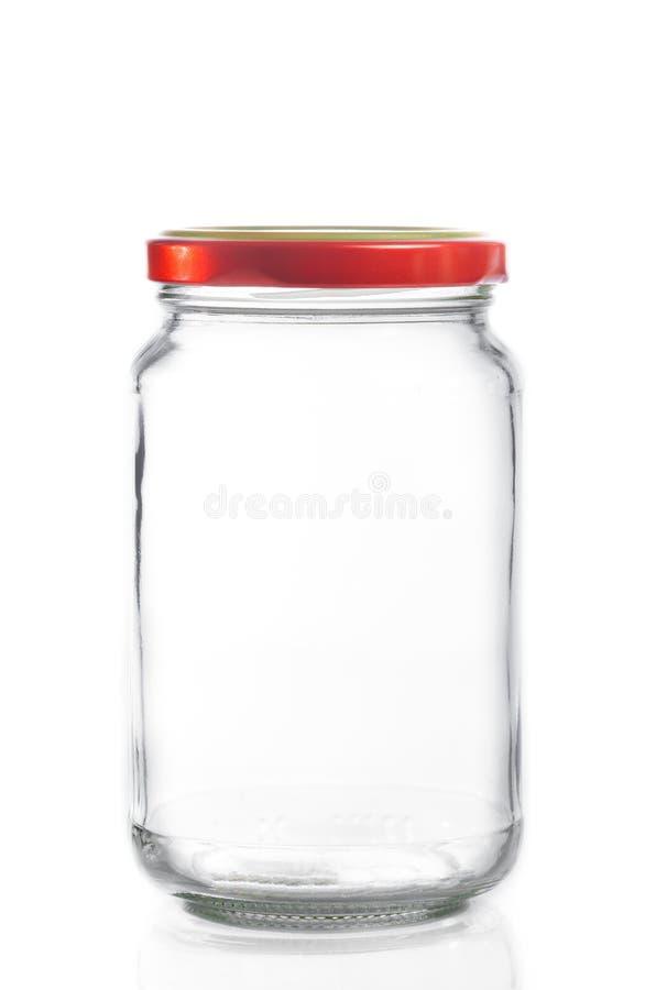Zamknięty pusty szklany słój odizolowywający zdjęcie stock