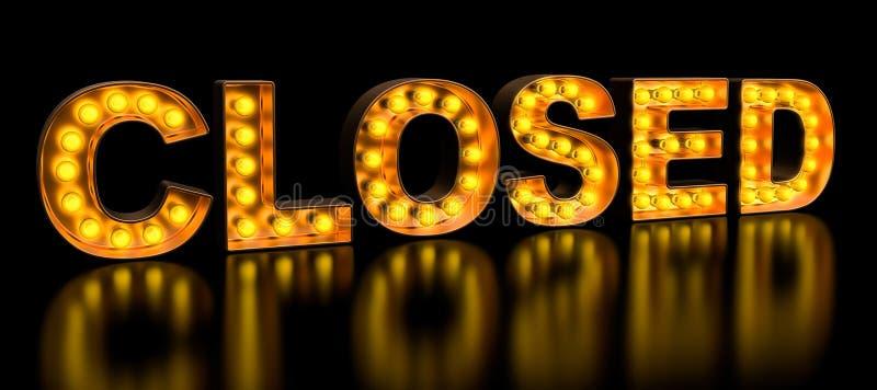 Zamknięty signboard od złotych żarówka listów, retro rozjarzona chrzcielnica ?wiadczenia 3 d ilustracja wektor