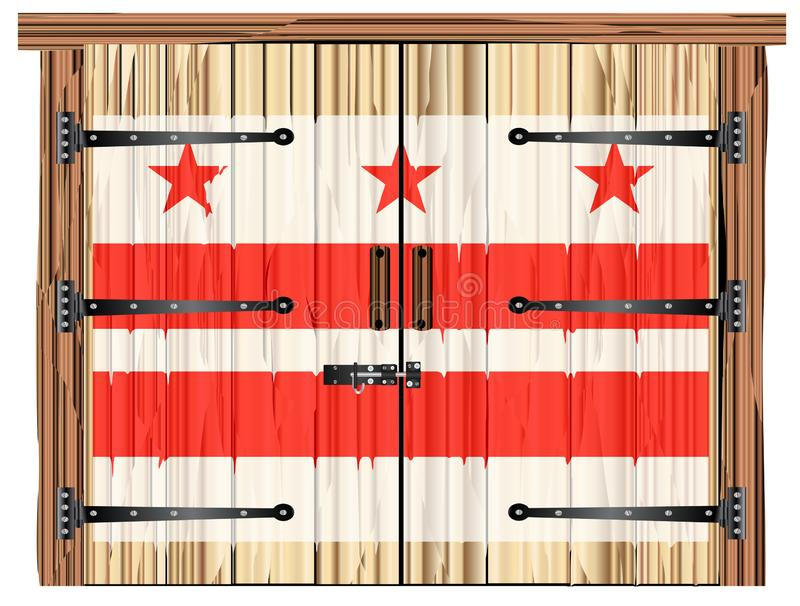 Zamknięty stajni drzwi Z washington dc stanu flagą ilustracji