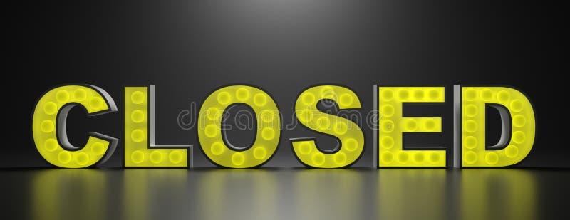 Zamknięty szyldowy żółty neonowy jarzyć się przeciw czarnemu tłu ilustracja 3 d ilustracji