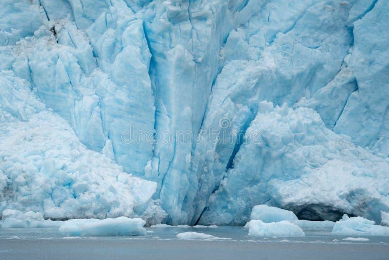 Zamknięty widok Holgate lodowa przedstawienia zgłębia crevasses i góry lodowa obraz stock