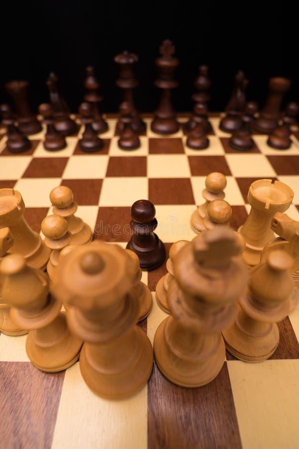 Zamknięty widok kawałki Chessboard zdjęcia stock