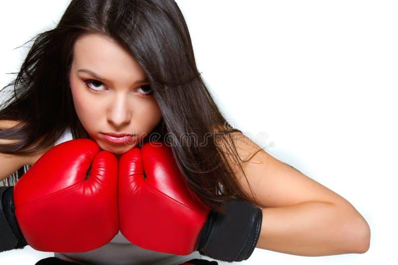 zamknięty zamknięta bokser kobieta zdjęcie stock