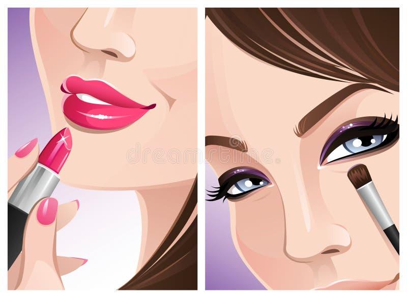 Download Zamknięty makeup ilustracja wektor. Obraz złożonej z gwóźdź - 12786812