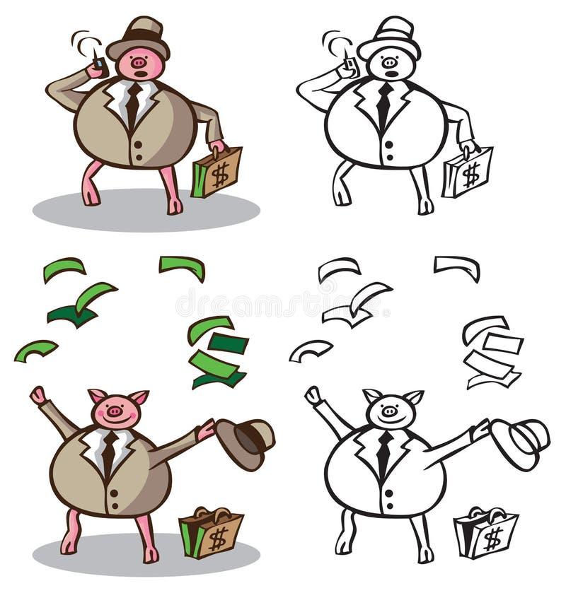 Zamożna biznesmen świnia ilustracji