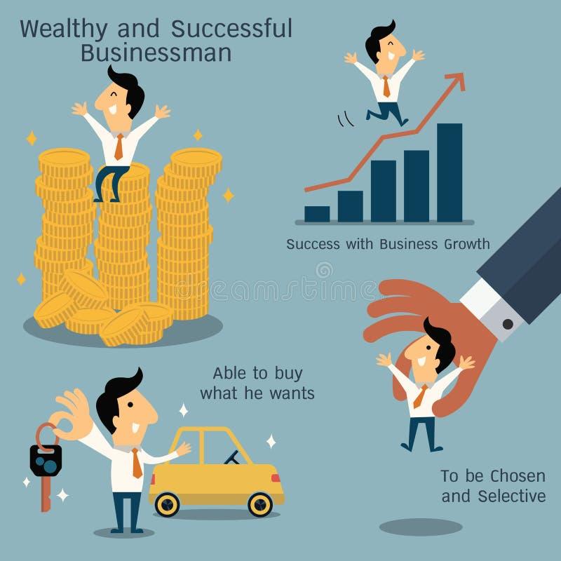 Zamożny i pomyślny biznesmen ilustracji