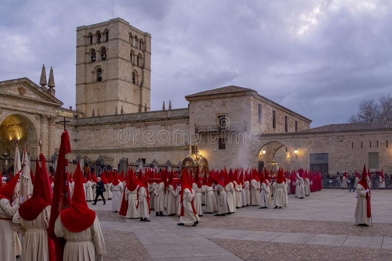 Holy Wednesday Procession in Zamora, Spain. Zamora, Spain; March 2017: Royal Brotherhood of the Holy Christ of the Injuries, parading on Holy Wednesday afternoon royalty free stock photo