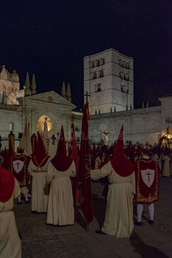 Holy Wednesday Procession in Zamora, Spain. Zamora, Spain; March 2017: Royal Brotherhood of the Holy Christ of the Injuries, parading on Holy Wednesday afternoon royalty free stock photography