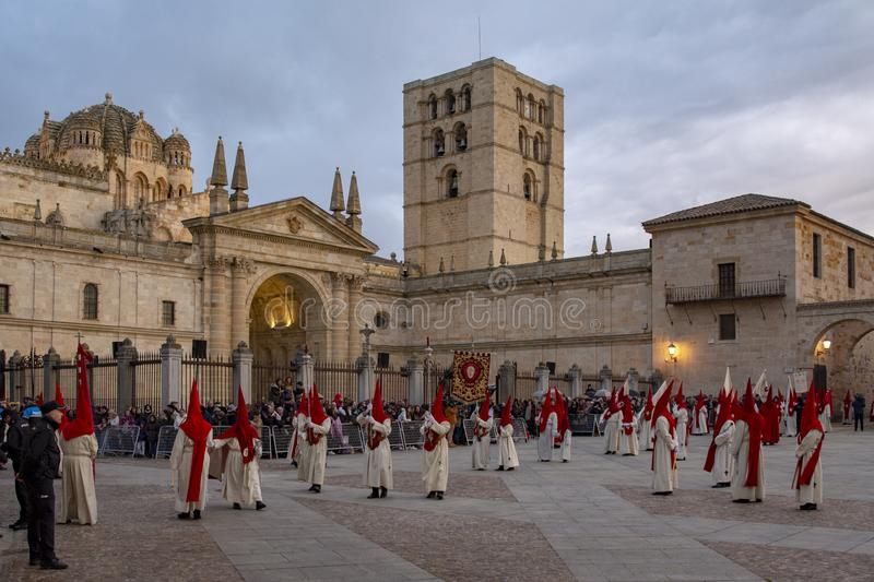 Holy Wednesday Procession in Zamora, Spain. Zamora, Spain; March 2017: Royal Brotherhood of the Holy Christ of the Injuries, parading on Holy Wednesday afternoon stock photo