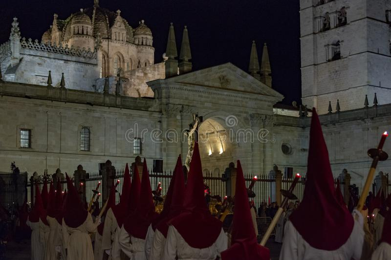 Holy Wednesday Procession in Zamora, Spain. Zamora, Spain; March 2017: Royal Brotherhood of the Holy Christ of the Injuries, parading on Holy Wednesday afternoon stock image