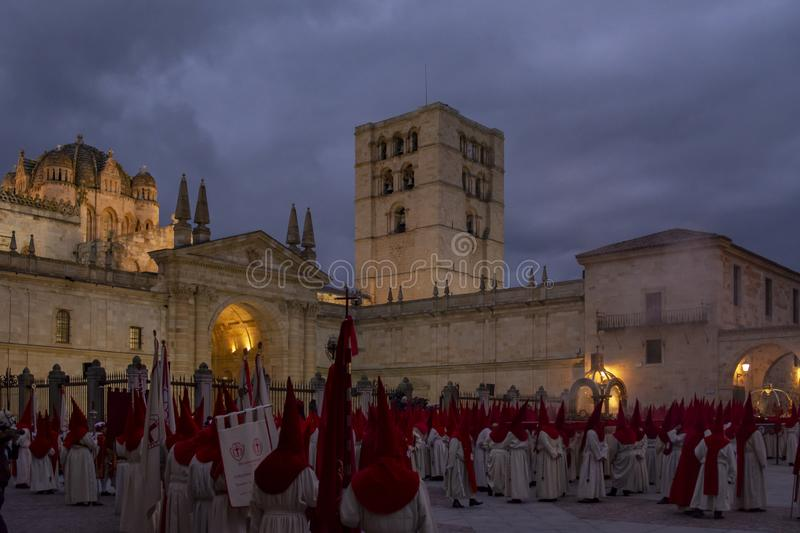 Holy Wednesday Procession in Zamora, Spain. Zamora, Spain; March 2017: Royal Brotherhood of the Holy Christ of the Injuries, parading on Holy Wednesday afternoon royalty free stock image