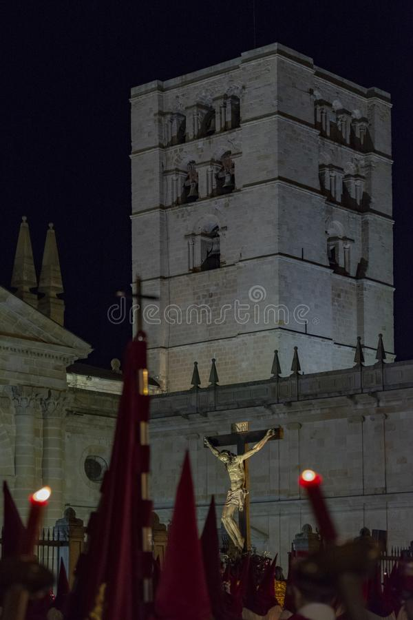 Holy Wednesday Procession in Zamora, Spain. Zamora, Spain; March 2017: Royal Brotherhood of the Holy Christ of the Injuries, parading on Holy Wednesday afternoon stock photography